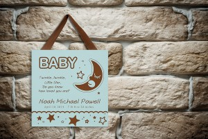 Engraved Baby Sign on old brick wall