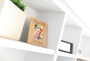 Engraved Loving Memory picture frame on shelf