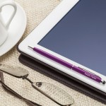 Engraved pen stylus on tablet