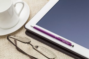 Engraved pen stylus on tablet