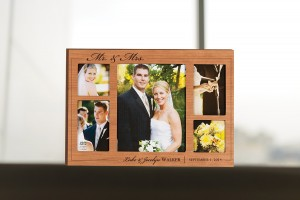 Engraved wooden wedding picture frame