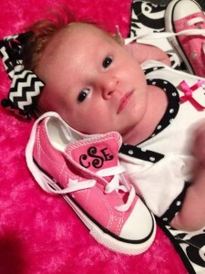 Baby shoes with monogramming