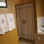 Towels and shower curtain with monogramming