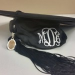 Graduation cap with monogramming