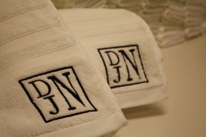 Towels with monogrammed initials